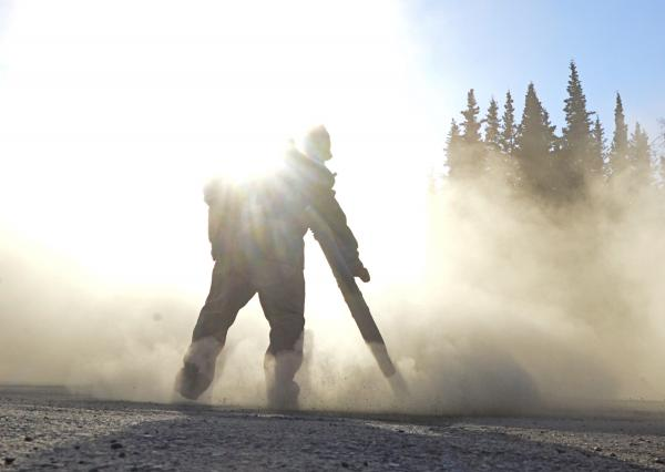 Blowing Dust and Gravel with a Leaf Blower